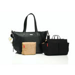 Baby Bag - Storksak Noa Leather Black - Baby Luno
