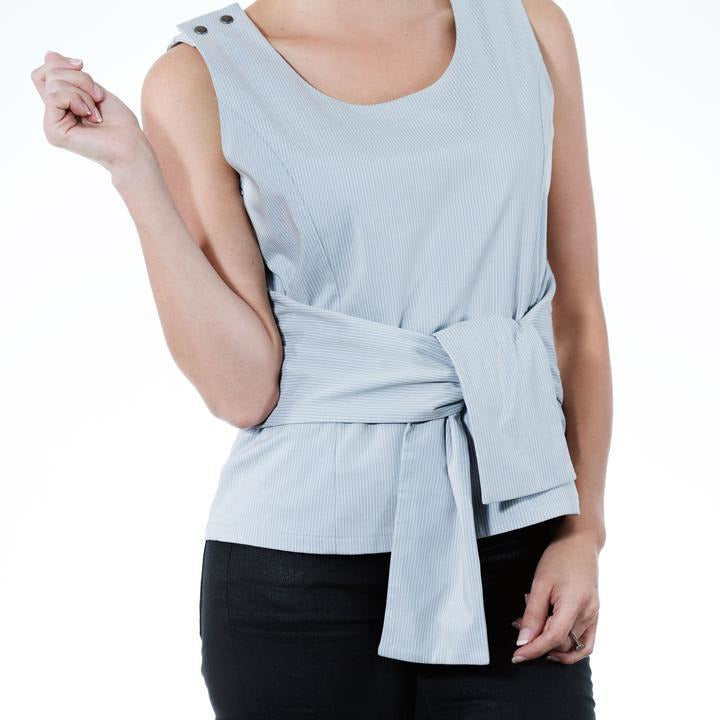 Tie Me Nursing Top - Grey Stripe - Baby Luno