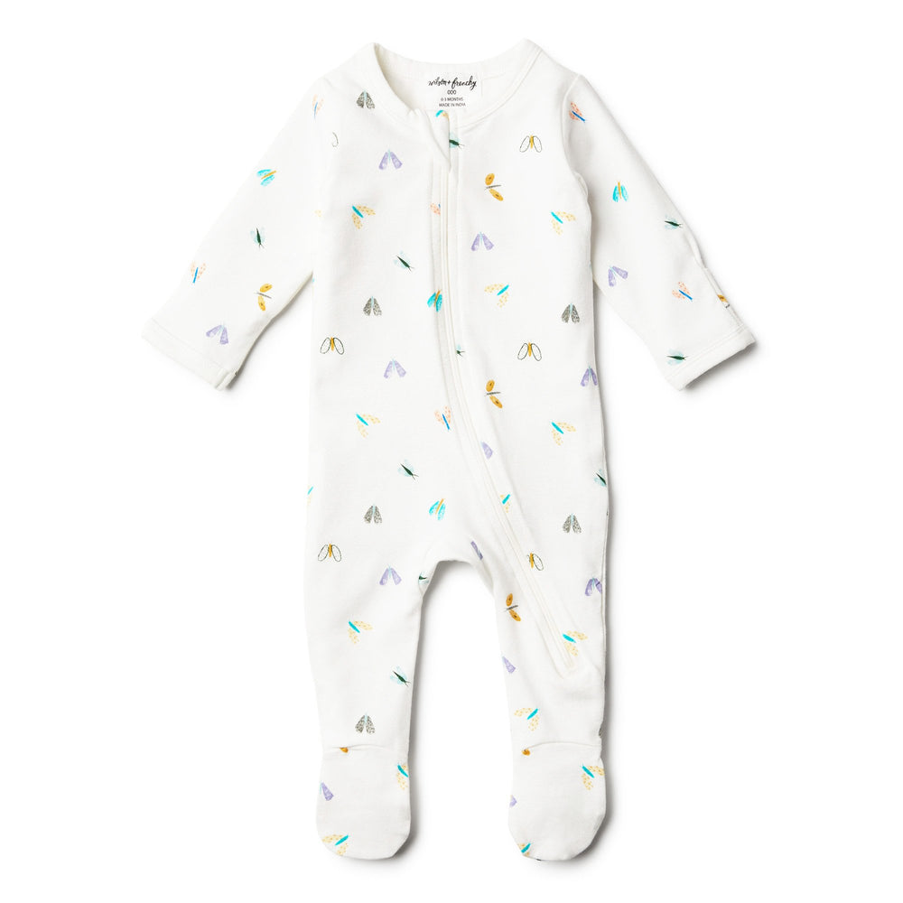 Baby Zipsuit - Organic Cotton Flitter Flutter - Baby Luno