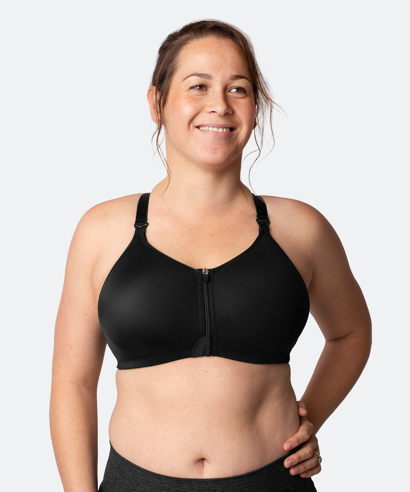 Nursing Sports Bra - Cadenshae Radiance Front Closure Black