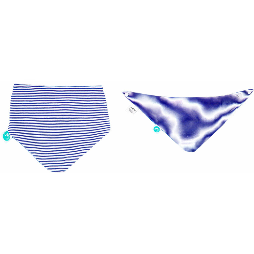 Baby Bib - Reversible Bandana Blue Triangles 2-pack - Baby Luno