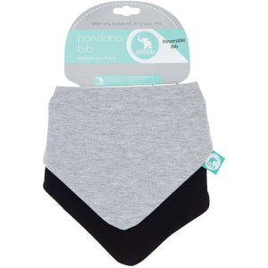 Load image into Gallery viewer, Baby Bib - Reversible Bandana Grey Stars 2-pack - Baby Luno