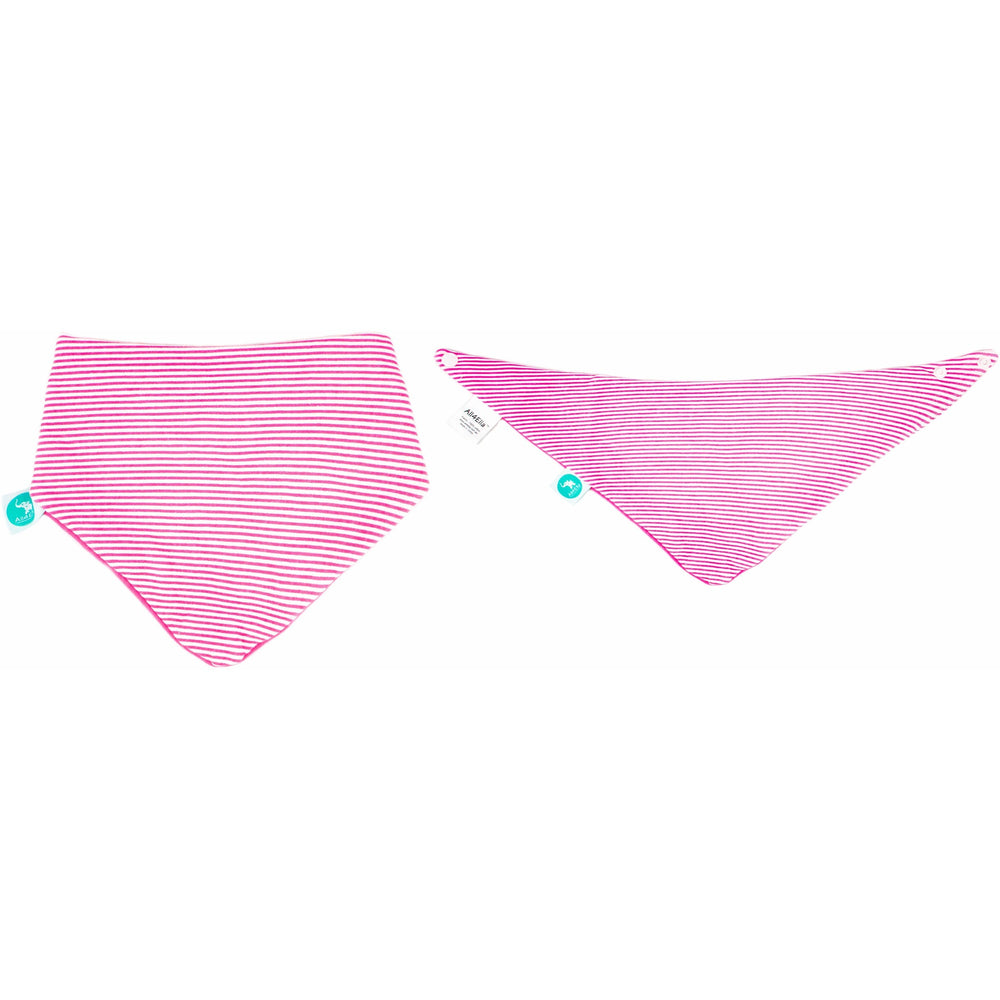 Load image into Gallery viewer, Baby Bib - Reversible Bandana Pink Bows 2-pack - Baby Luno