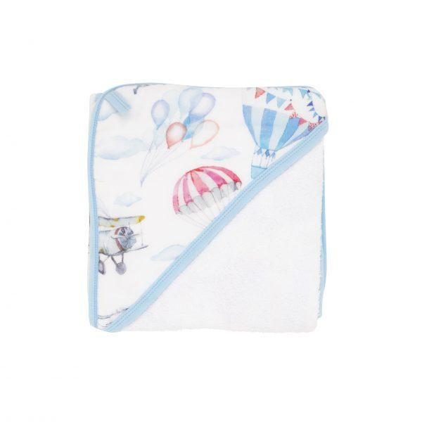 Hooded towel - Blue Balloon Planes - Baby Luno