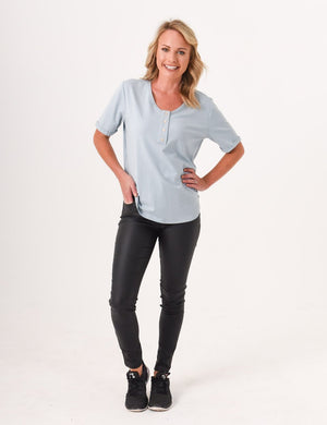 Load image into Gallery viewer, Brooke Button Front Short Sleeve Nursing Tee - Ash Blue - Baby Luno