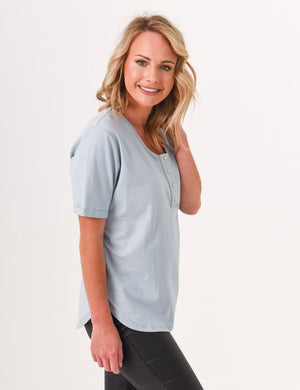 Brooke Button Front Short Sleeve Nursing Tee - Ash Blue - Baby Luno