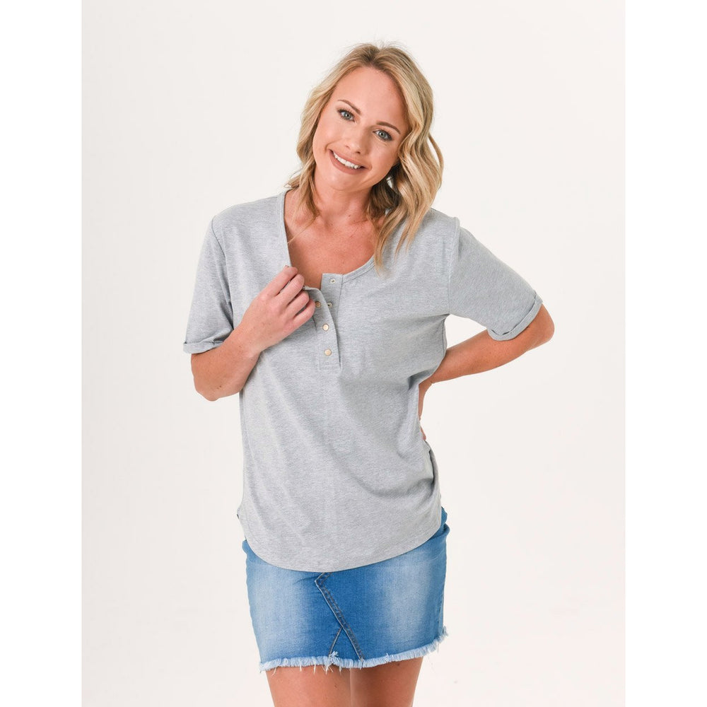Brooke Button Front Short Sleeve Nursing Tee - Grey - Baby Luno