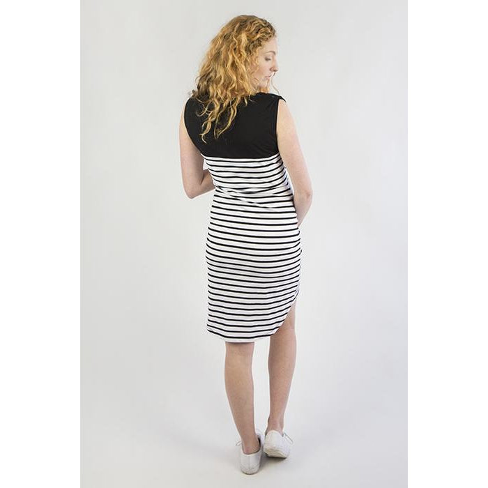 Striped Sleeveless Breastfeeding Dress - Black & White - Baby Luno