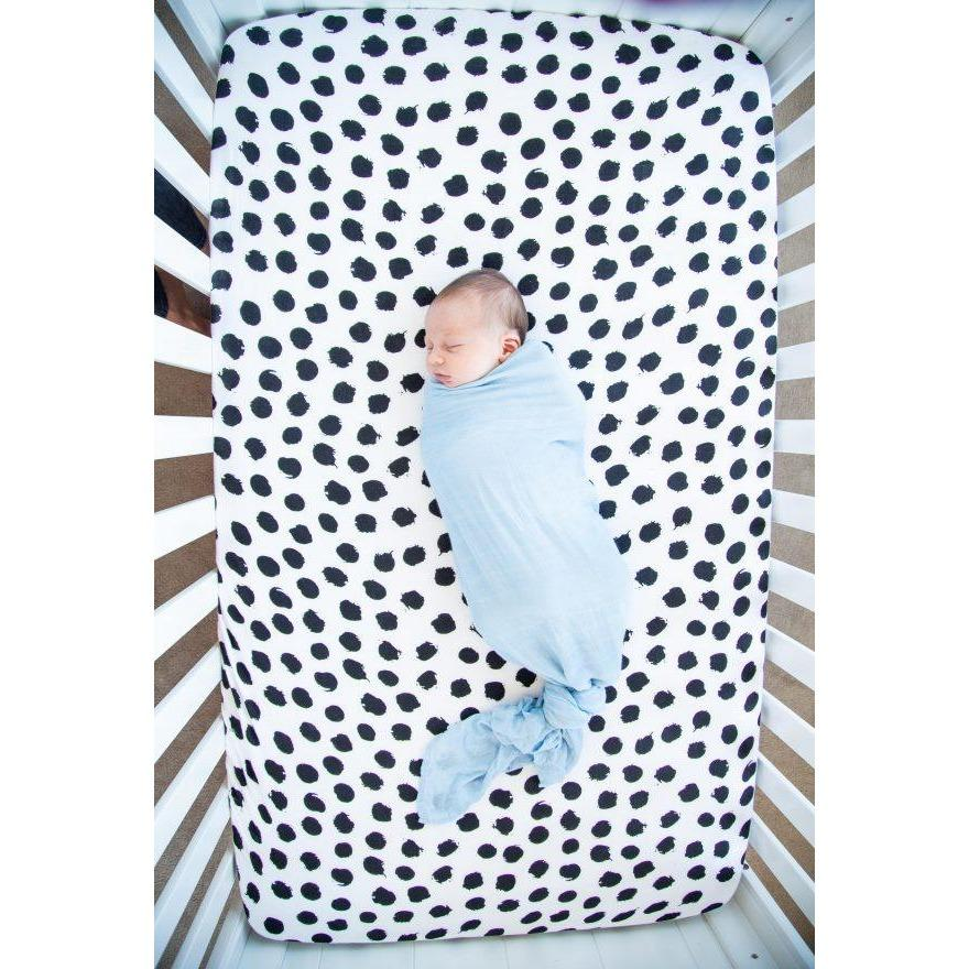 Baby Bamboo Cot Sheet - Ink Spots (PRE-ORDER)