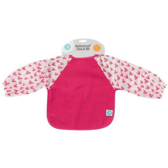Load image into Gallery viewer, Baby Bib - Long Sleeve Pink Hearts - Baby Luno