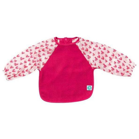 Baby Bib - Long Sleeve Pink Hearts