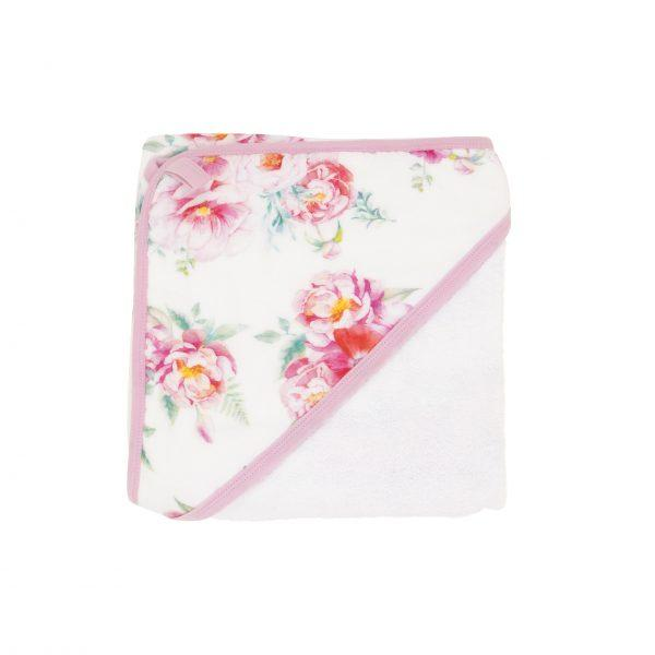 Hooded towel - Pink Floral - Baby Luno