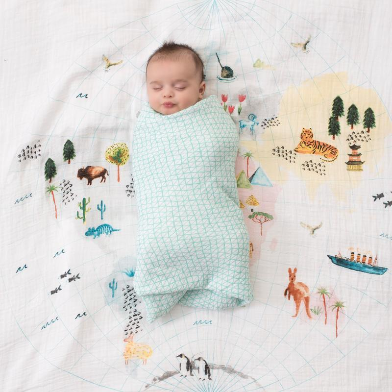 Baby Swaddle Blanket - Around The World Map