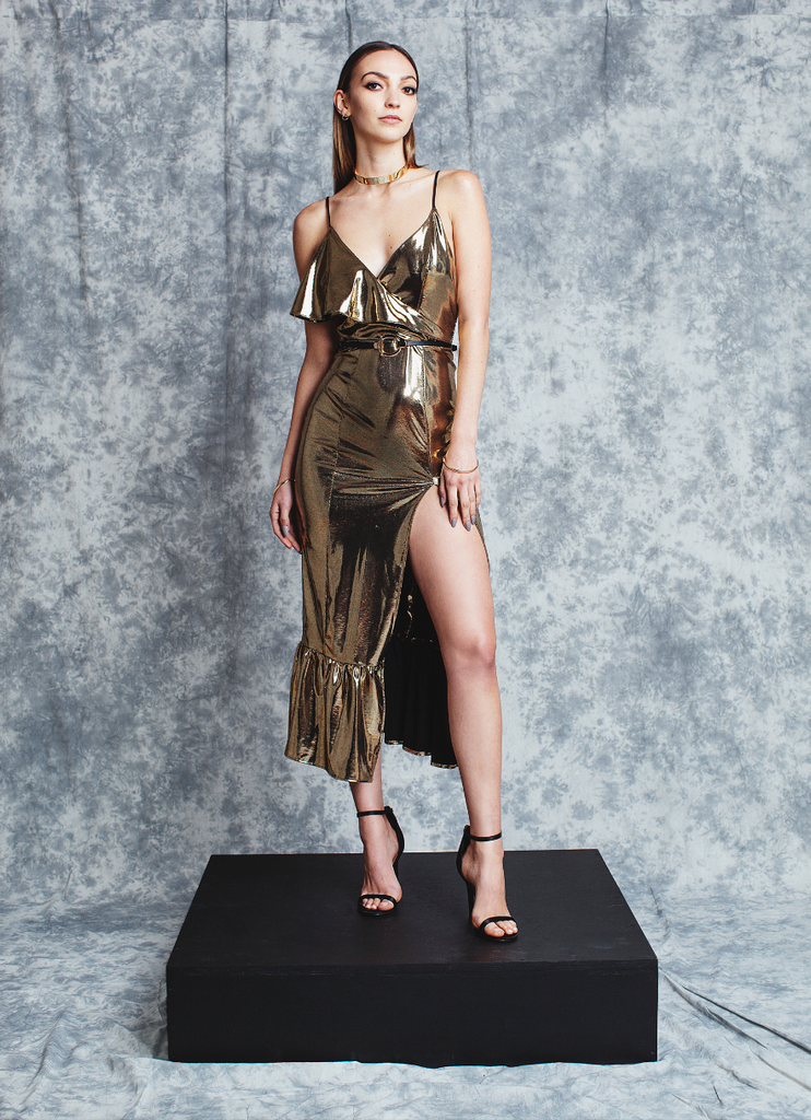 ASYMMETRICAL GOLD DRESS