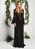 SHEER GOWN WITH APPLIQUE