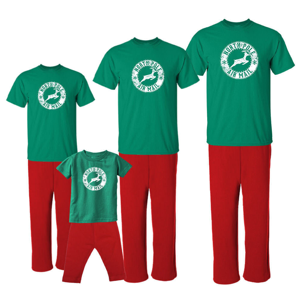 We Match! North Pole Air Mail Reindeer Matching Holiday Outfits Pajamas Set - Infant Through Adult Size (Assorted Colors)