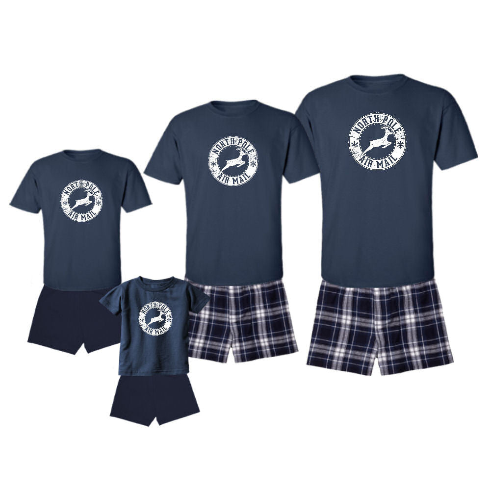 We Match! Air Mail North Pole Reindeer - Matching Family Pajamas Short Sleeve T-Shirt & Shorts/Boxers V11