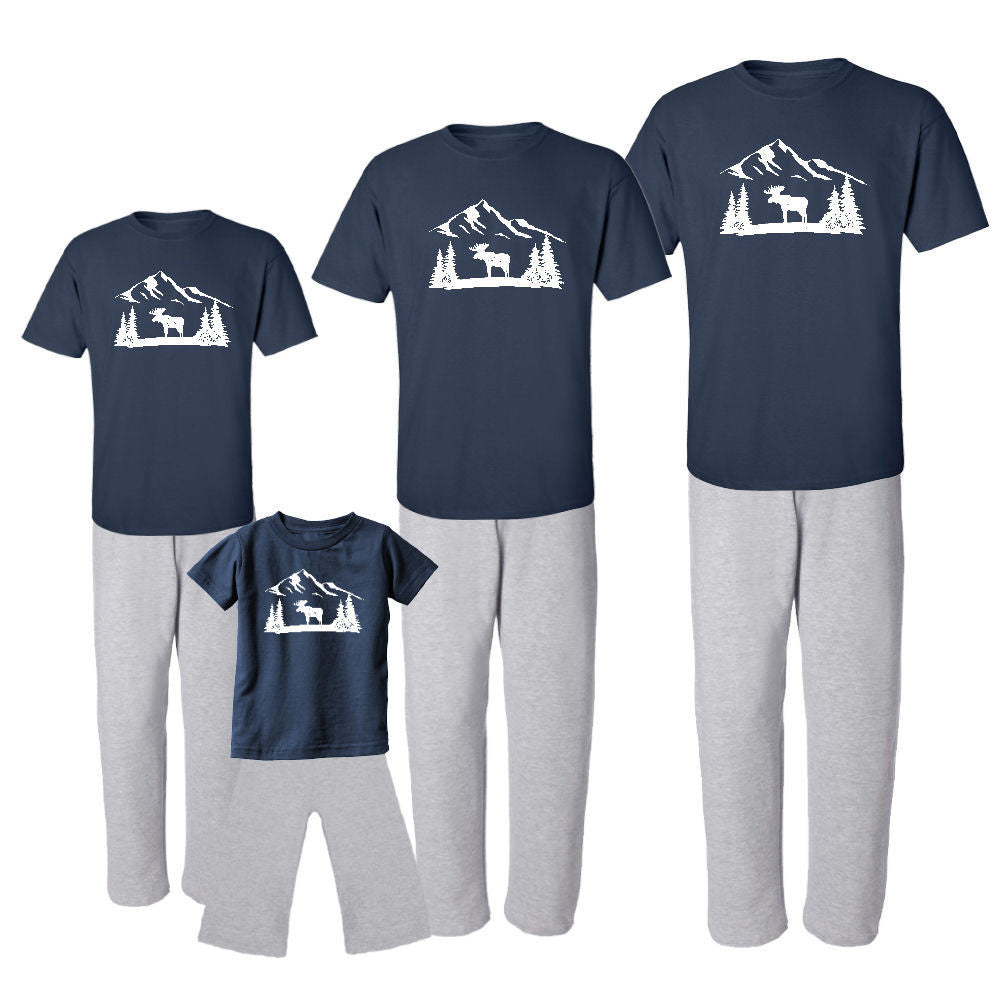 We Match! Winter Wonderland Moose Matching Holiday Outfits Pajamas Set - Infant Through Adult Size (Assorted Colors)
