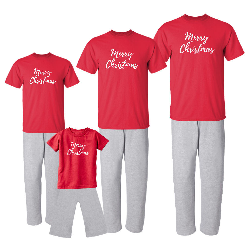 We Match! Merry Christmas Matching Holiday Outfits Pajamas Set - Infant Through Adult Size (Assorted Colors)