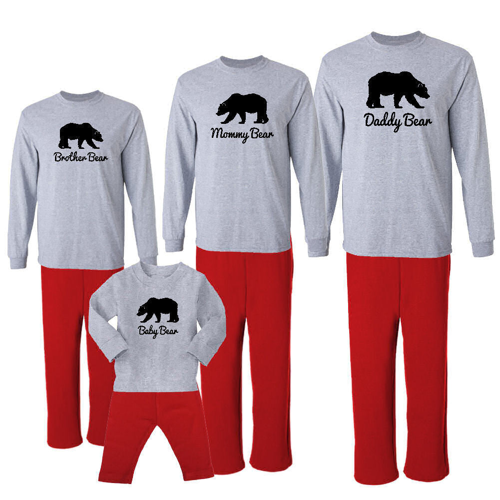 We Match! Bear Family (Mama Bear, Papa Bear, Baby Bear & More - Black Print)  Matching Holiday Outfits Pajamas Set - Infant Through Adult Size (Assorted Colors)