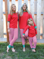 Matching Family Christmas Pajamas Red and White Striped - Sizes from infant through adult so everyone in the family can match!