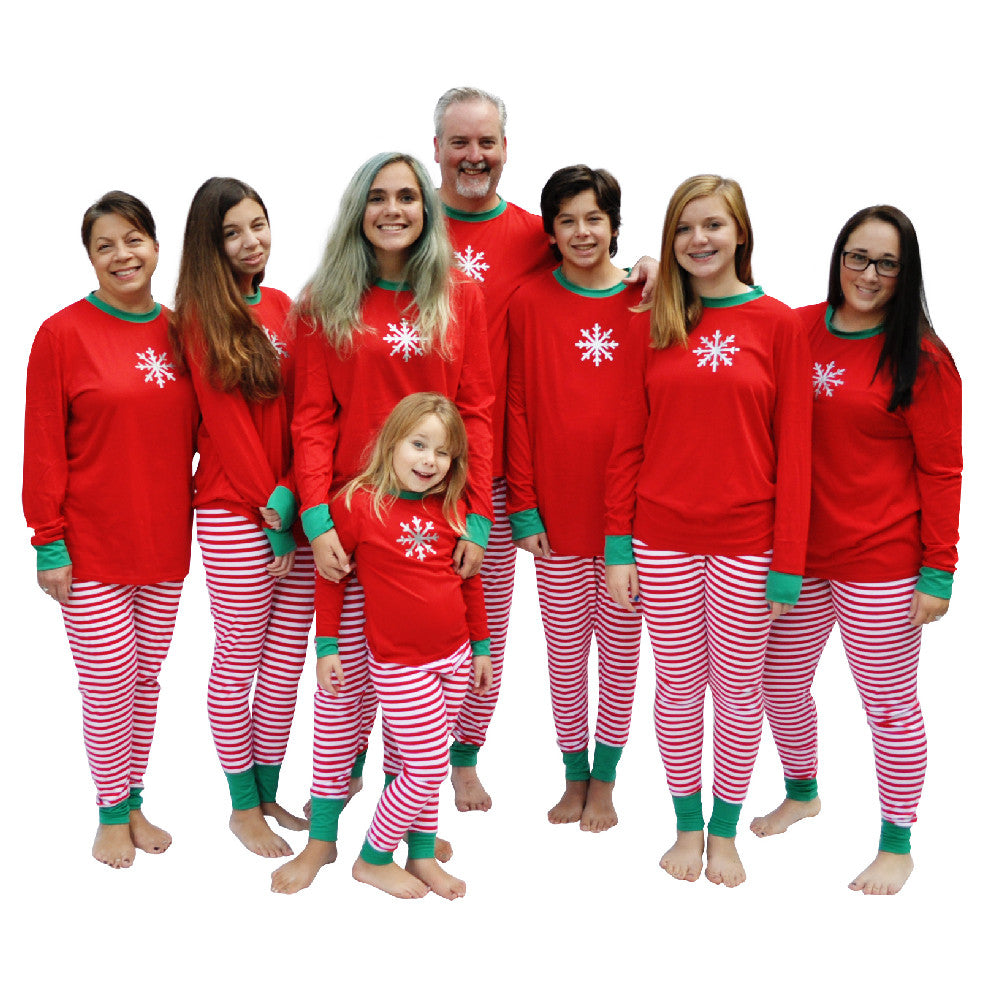 Shimmery Silver Snowflake - Matching Family Christmas Pajamas Red and White Striped - Sizes from infant through adult so everyone in the family can match!