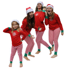 Shimmery Silver Snowflake - We Match! Matching Family Christmas Pajamas Red and White Striped - Sizes from infant through adult so everyone in the family can match!
