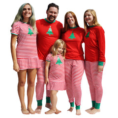 Vibrant Christmas Tree - We Match! Matching Family Christmas Pajamas Red and White Striped - Sizes from infant through adult so everyone in the family can match!