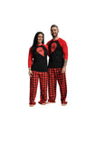 LO VE Love Two Parts of a Heart Matching Couples Red & Black Three-Quarter Sleeve Flannel Pajamas Set
