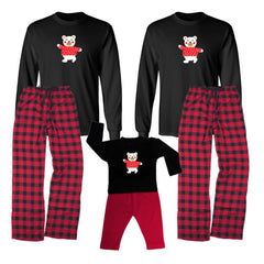 Match! Skating Polar Bear Matching Holiday Outfits Pajamas Set - Infant Through Adult Size (Assorted Colors)