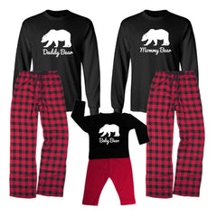 We Match! Bear Family (Mama Bear, Papa Bear, Baby Bear & More - White Print)  Matching Holiday Outfits Pajamas Set - Infant Through Adult Size (Assorted Colors)
