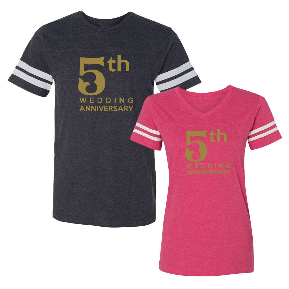 We Match!™ 5th (Fifth) Wedding Anniversary Matching Couples Football T-Shirts Set