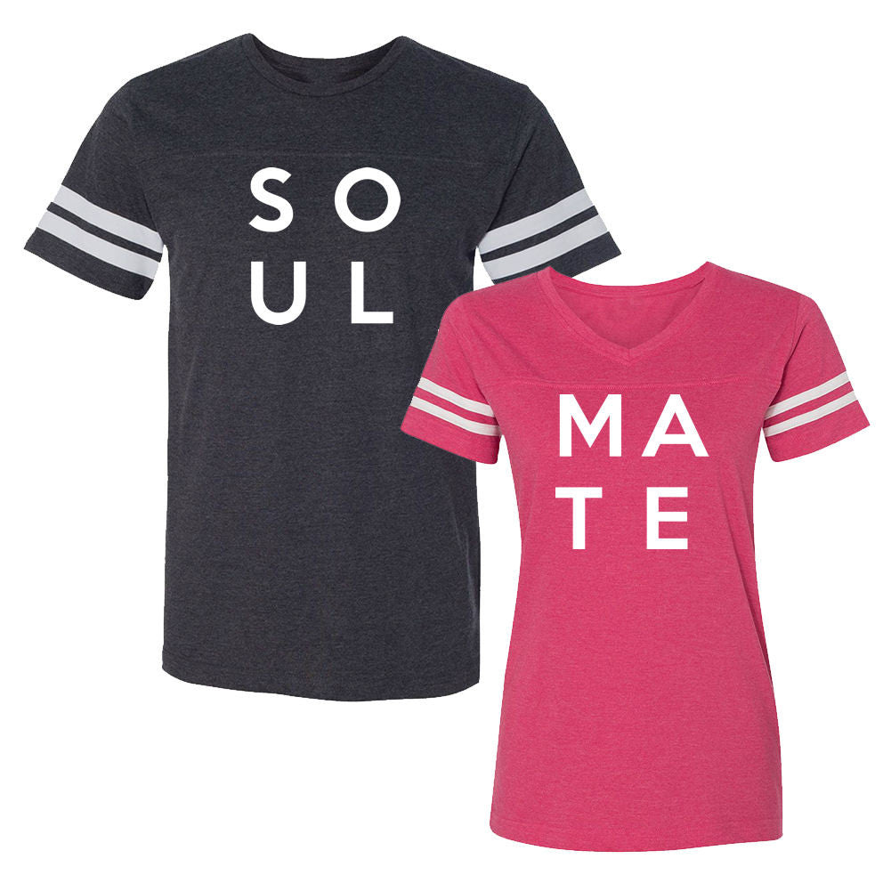 We Match!™ Soul Mate Soul & Mate Matching Couples Football T-Shirts Set