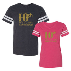 We Match!™ 10th (Tenth) Wedding Anniversary Matching Couples Football T-Shirts Set