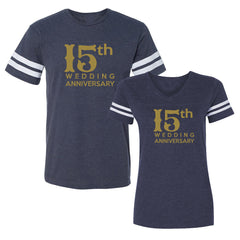 We Match!™ 15th (Fifteenth) Wedding Anniversary Matching Couples Football T-Shirts Set