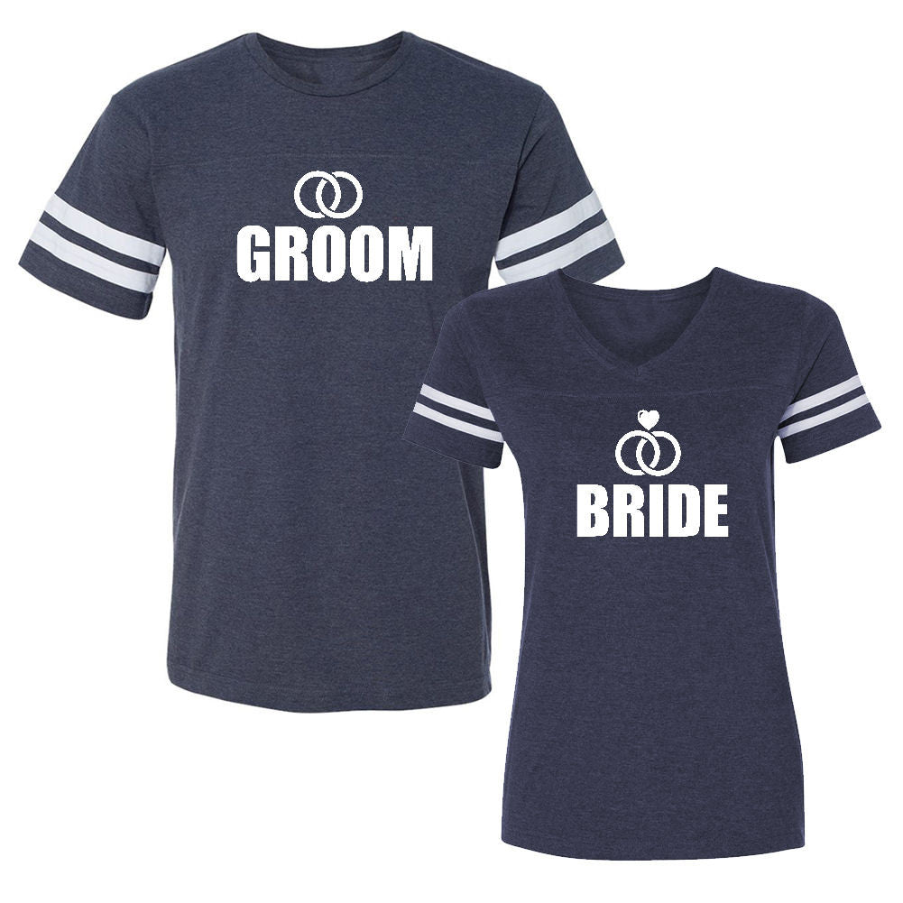 We Match!™ Bride & Groom - Rings (Just Married) Matching Couples Football T-Shirts Set