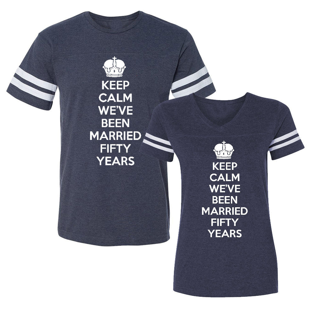 We Match!™ Keep Calm We've Been Married Fifty Years (50th Wedding Anniversary) Matching Couples Football T-Shirts Set