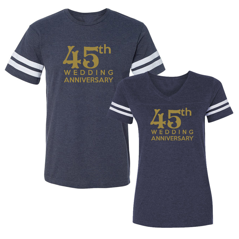 We Match!™ 45th Wedding Anniversary Matching Couples Football T-Shirts Set