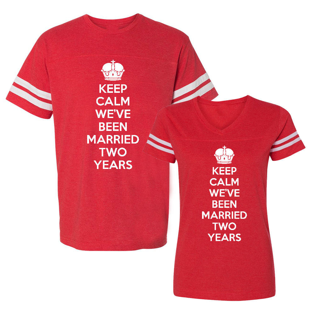 We Match!™ Keep Calm We've Been Married Two Years (Second Wedding Anniversary) Matching Couples Football T-Shirts Set
