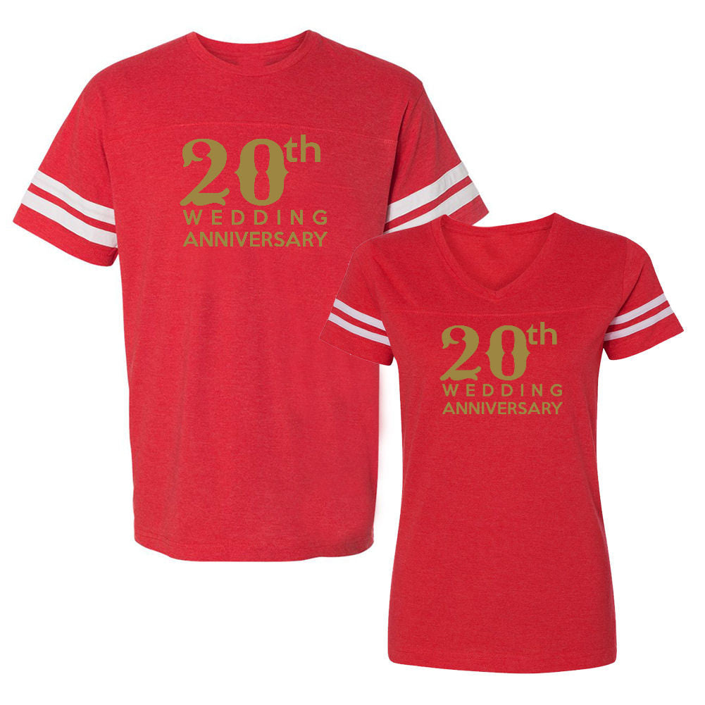 We Match!™ 20th (Twentieth) Wedding Anniversary Matching Couples Football T-Shirts Set