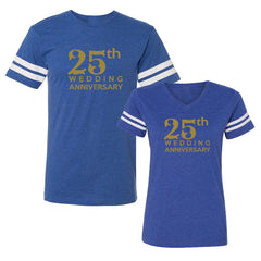 We Match!™ 25th Wedding Anniversary Matching Couples Football T-Shirts Set