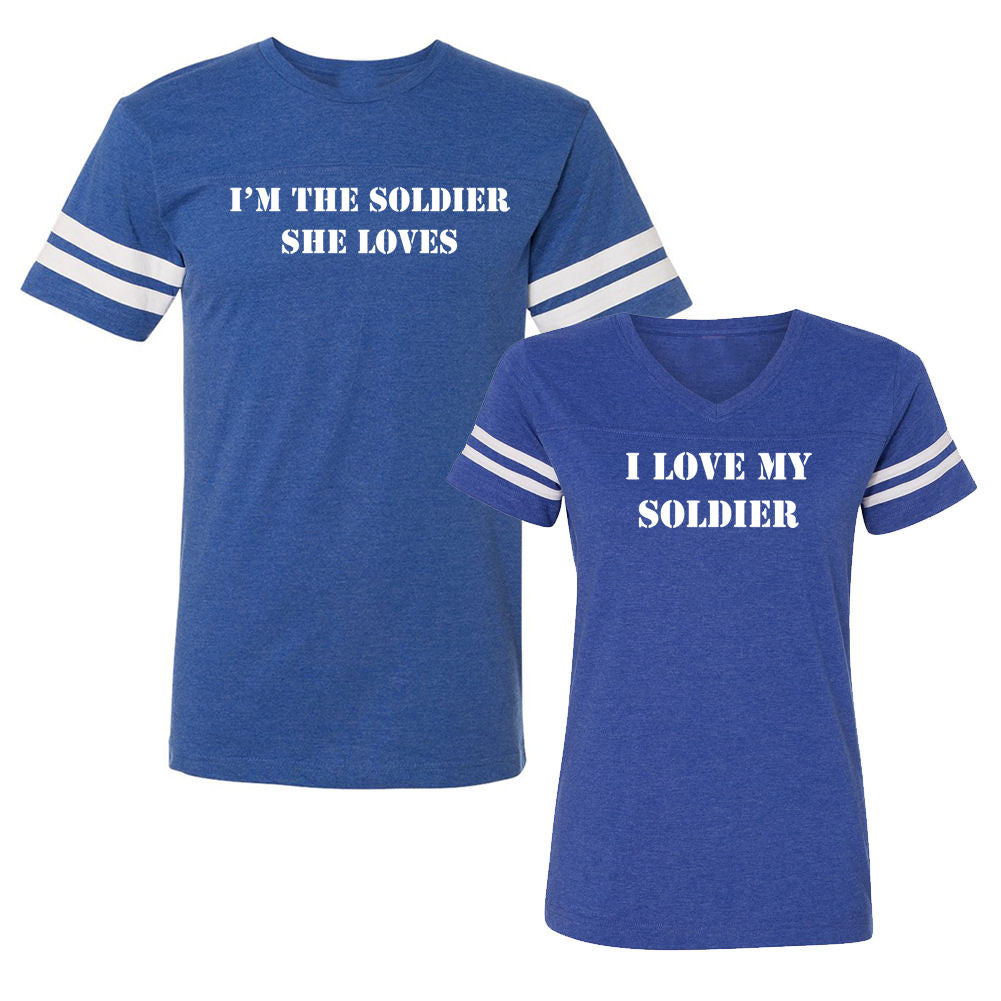 We Match!™ I Love My Soldier & I'm The Soldier She Loves Matching Couples Football T-Shirts Set