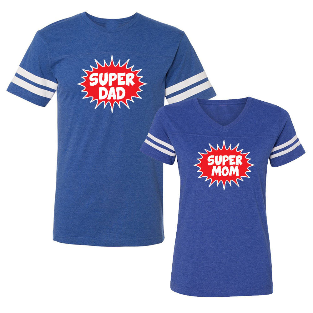 We Match!™ Super Dad & Super Mom Matching Couples Football T-Shirts Set