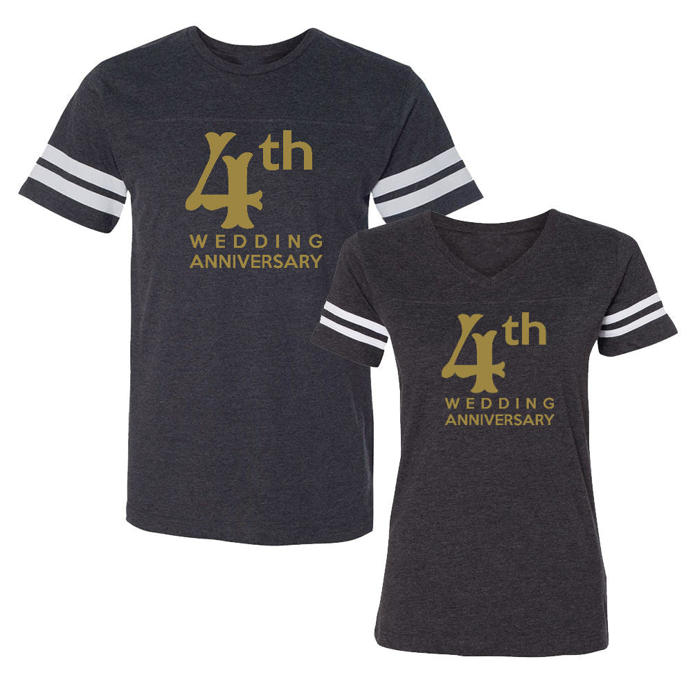 We Match!™ 4th (Fourth) Wedding Anniversary Matching Couples Football T-Shirts Set