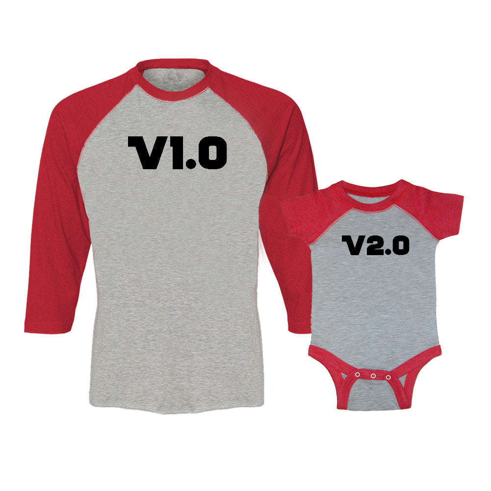 We Match!™ Version 1.0 & Version 2.0 Matching Adult & Child 3/4 Sleeve Baseball T-Shirt Set
