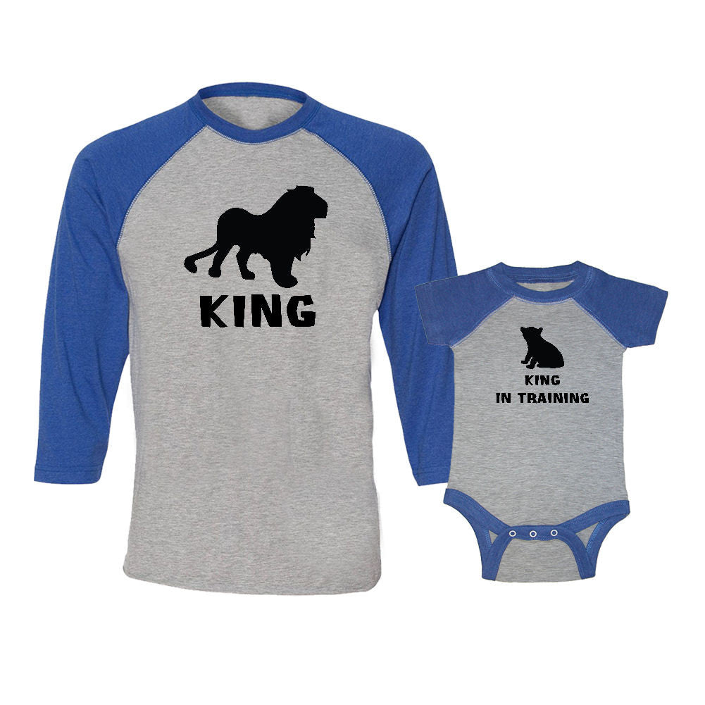 We Match!™ King (Lion) & King In Training (Cub) Matching Adult & Child 3/4 Sleeve Baseball T-Shirt Set