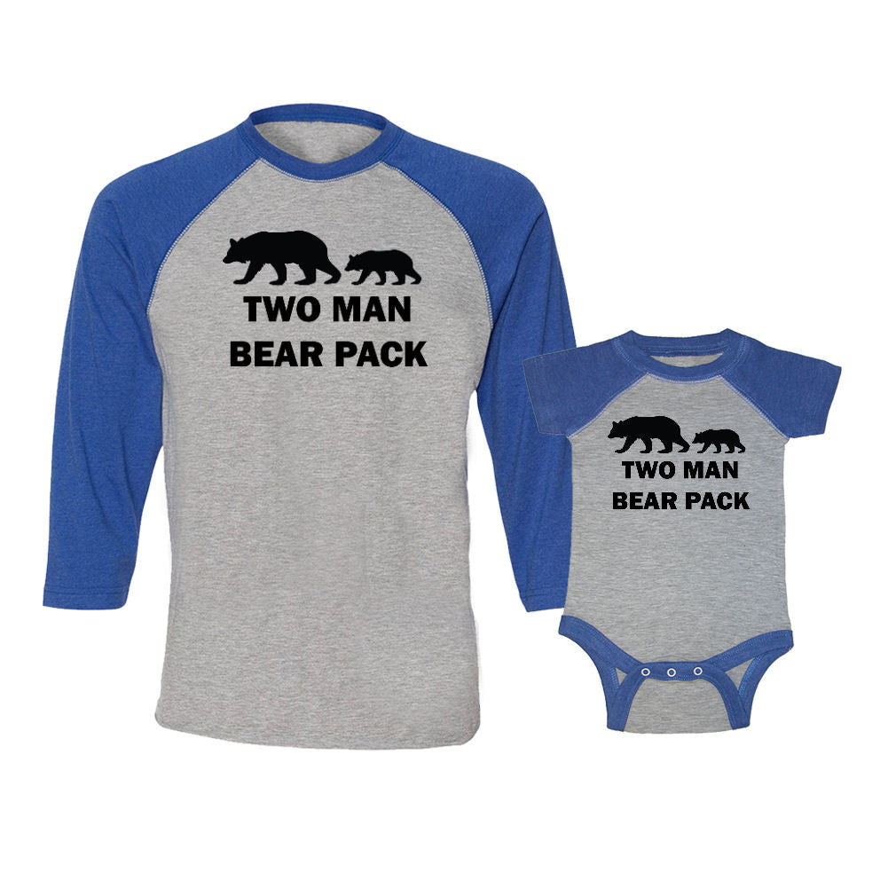 We Match!™ Two Man Bear Pack (Two Bears) Matching Adult & Child 3/4 Sleeve Baseball T-Shirt Set