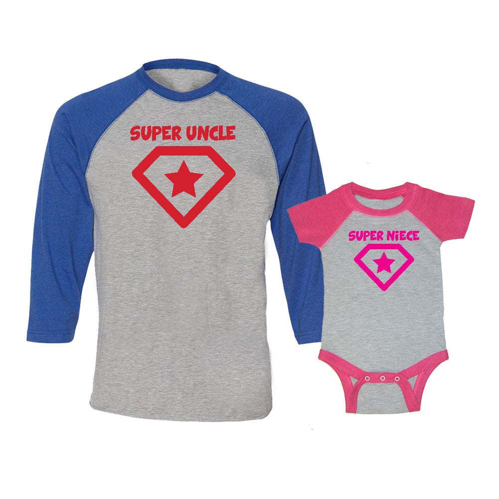 We Match!™ Super Uncle & Super Niece Matching Adult & Child 3/4 Sleeve Baseball T-Shirt Set