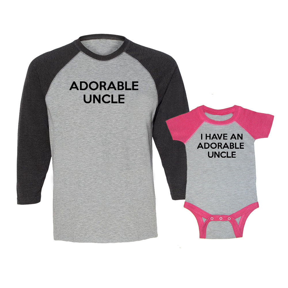 We Match!™ Adorable Uncle & I Have An Adorable Uncle Matching Adult & Child 3/4 Sleeve Baseball T-Shirt Set