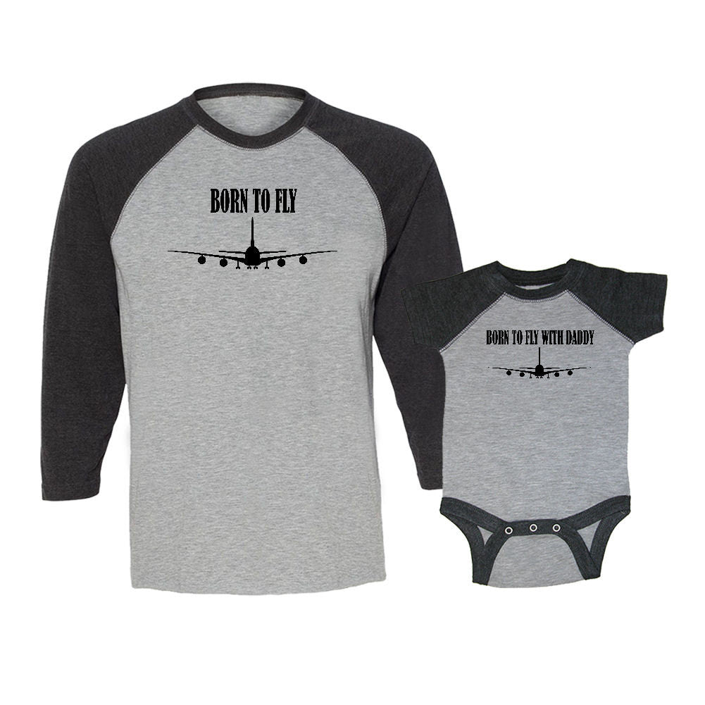We Match!™ Born To Fly & Born To Fly With Daddy Matching Adult & Child 3/4 Sleeve Baseball T-Shirt Set